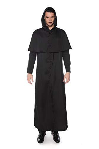 Kostüm Männlich Vampir - YuStar Halloween Cosplay Erwachsenen Männlicher Umhang Zauberer Robe Kostüm Vampir Ritter Fasching Kostüm Gr. XL, Schwarz