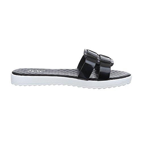 Ital-Design Damen Schuhe, 1345-PT, Sandalen Leichte Schwarz