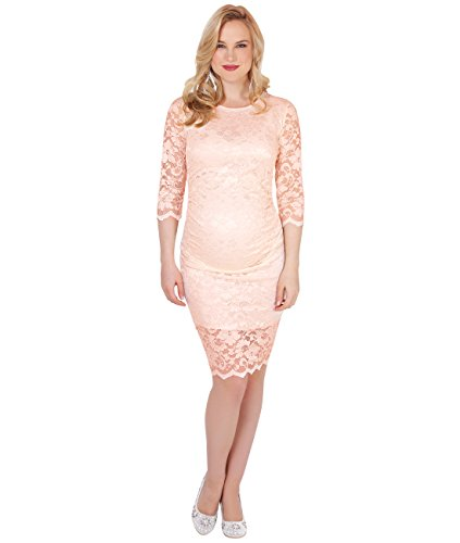 KRISP Kurzes Elegantes Schwangerschaftskleid mit Spitze (Zartrosa) (9082-NUD-M) - 2