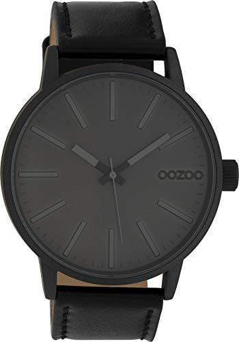 Oozoo Herrenuhr mit Lederband 45 MM Dunkelgrau/Dunkelgrau/Schwarz C10014