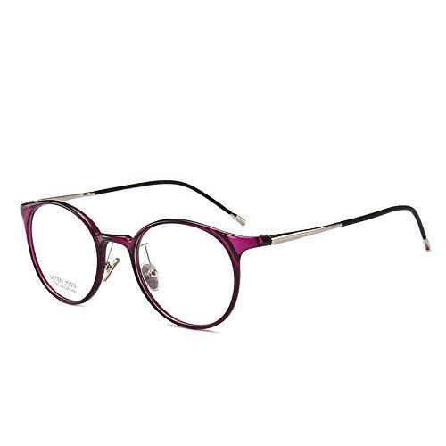 Yangjing-hl Wolfram-Titan Stahl Brille Retro Männer und Frauen Brillengestell mit Anti-Blau Brille lila Rahmen