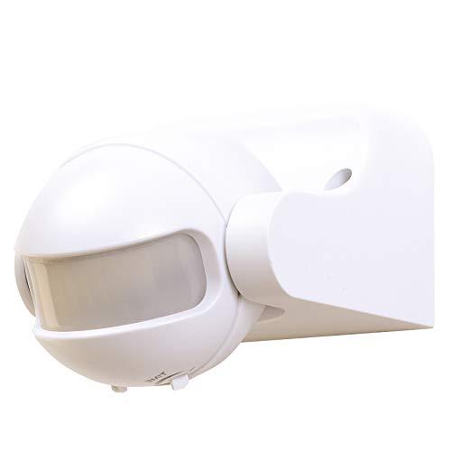 REV BEWEGUNGSMELDER ǀ Passiv-Infrarot Bewegungssensor ǀ 180 ° Arbeitsfeld ǀ Reichweite bis 12 m ǀ Erfassungsbereich einstellbar ǀ für Innen- und Außenbereich IP44 ǀ Weiß -