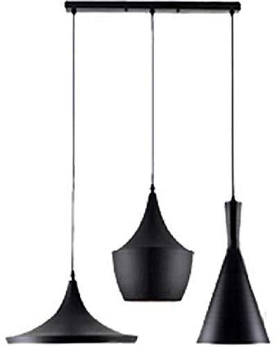Industrielle Vintage Pendelleuchte aluminiert Hängeleuchte für Esszimmer Schlafzimmer Schwarz