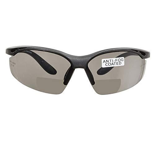 voltX 'Constructor' BIFOKALE Schutzbrille mit Lesehilfe (RAUCHGRAUE +1.5 Dioptrie) CE EN166F Zertifiziert/Sportbrille für Radler enthält Sicherheitsband - Bifocal Safety Glasses