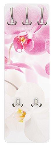 Apalis Orchideen Garderobe - Delicate Orchids - Blumen Garderobe Weiß Rosa Pink | Design Garderobe Garderobenpaneel Kleiderhaken Flurgarderobe Hakenleiste Holz Standgarderobe Hängegarderobe | 139x46cm