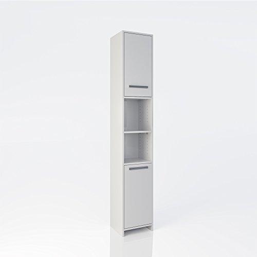 #Badschrank Holz Badezimmerschrank Hochschrank Badmöbel Schrank Regal 2 Türen Weiß#