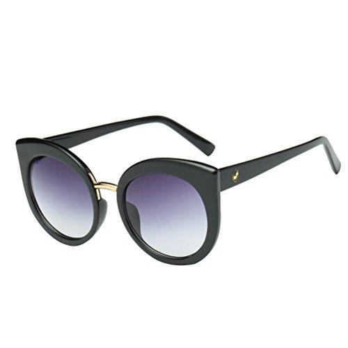 Tinksky Damen Sonnenbrille mit Gläser verspiegelt und Gestell aus Metall Typ Cat Eye (Rahmen schwarz mit Ziele violett grau)