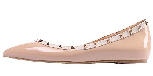 MONICOCO Übergröße Flache Damenschuhe Spitze Zehen Lackleder Geschlossene Ballerinas mit Nieten Weiß