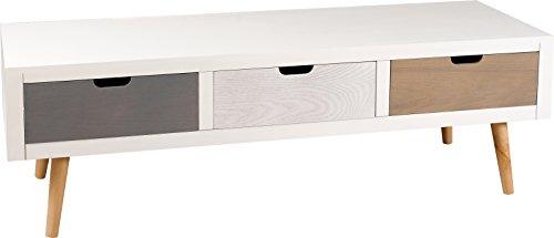 MACABANE Nomades Design 705000 Meuble TV avec 3 Tiroirs Pin/MDF 40 x 120 x 38 cm