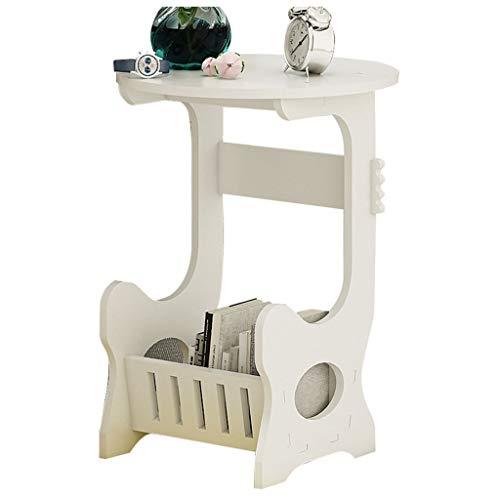 Wz Table D'appoint Ordinateur Portable, Ronde Moderne Bois Bout De Canapé À Café Canapé Consoles Informatiques Blanche (Taille : 60X45X45)