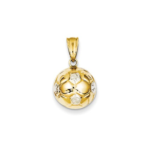 2 Anhänger Black Diamond Karat (Black Bow Jewellery Company: 13 mm, Two Tone, 3D, mit Fußball-Anhänger, 14 Karat, Gold und Rhodium, Gelb)