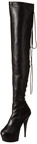 Pu Knee Boot (Pleaser DELIGHT-3063, Damen Over-Knee Stiefel, Schwarz (Schwarz (Blk Str Faux Leather/Blk)), 40 EU (7 Damen UK))