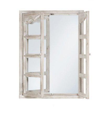 Specchiera bianca di legno con ante stile vintage L'ARTE DI NACCHI VZ-84