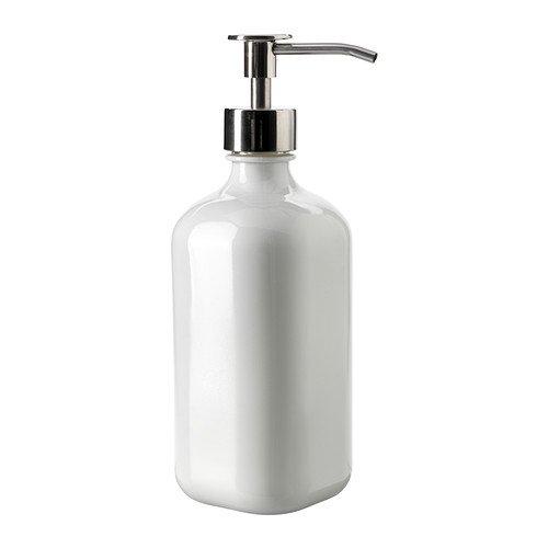 IKEA dispenser per sapone Besta fine vetro bianco e acciaio inox dispenser per (Dispenser Di Sapone Fine)