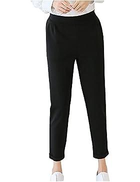 Yonglan Mujer Pantalones Rectos Slim Oficina Deportivos Ocio Bolsillos Tallas Grandes Negro XXL