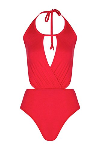 rouge Hommes Grand Verity Emballage avant Halter Cou Body Rouge