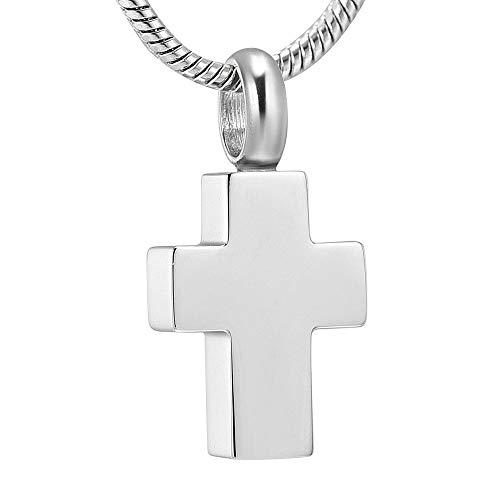 Mullyuia Urne Urnen Anhänger Memorial Silber Plain Kreuz Feuerbestattung Halskette Für Menschliche Asche Andenken Memorial Urne Schmuck @ 3_Pieces