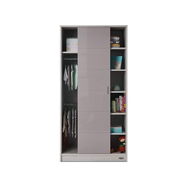 Obaby Madrid Double Wardrobe, Lunar Obaby One side offers two hanging rails and one fixed shelf The other side offers 6 deep fixed shelves Gloss sliding door is reversible and offers easy access to both sides 3