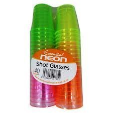 Partyrama 40 COLOURFUL NEON DISPOSABLE PLASTIC SHOT CUPS GLASSES PARTY GREEN PINK ETC : everything £5 (or less!)