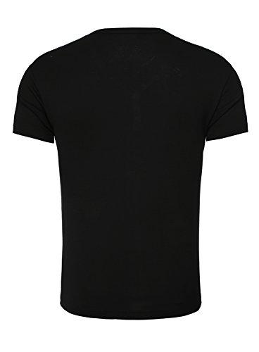 Young & Rich Herren T-Shirt CORUNA Basic Look Einfarbig mit Stickerei Sommershirt Schwarz