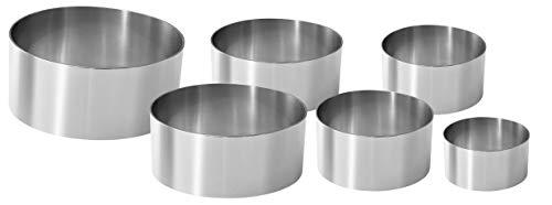 Fackelmann 6-teiliges Set Dessertringe, professionell, Stahl, Silber