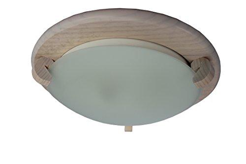 § § Deckenleuchte oder Bullauge Kreissägeblatt Holz rosé mit verrerie gefrostet. 2x E2760Watt