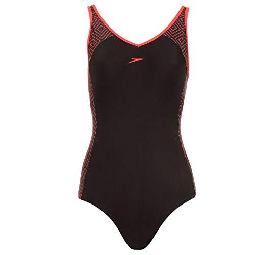 Speedo Damen E Ladies Schwimmanzug Badeanzug Baden Schwimmen Anzug Kostueme Bademode Black/Watermelo 30