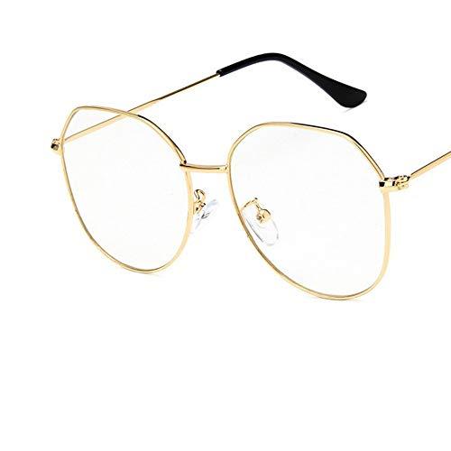 Sonnenbrille Big Frame Frauen Goldene Brille Frame Metall Brillen Vintage Klare Optische Gläser Fake Gläser