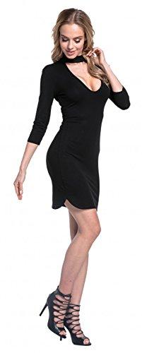Glamour Empire. Femme Élastique Robe Moulante Mini Longueur avec Collier. 650 Noir
