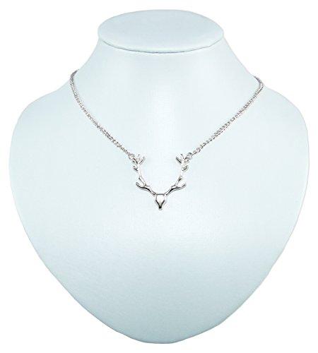 Preisvergleich Produktbild Trachten Halskette Hirschkopf - Silberfarben - Schöner Schmuck für Damen zum Dirndl