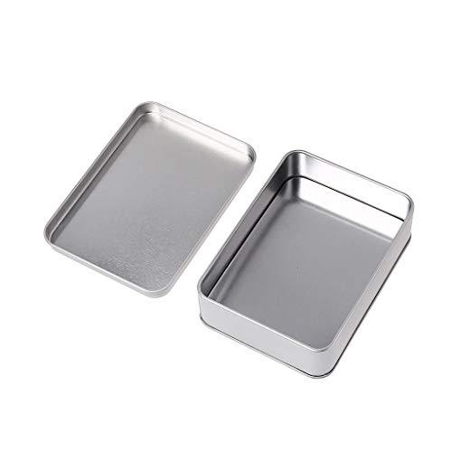 Runrun Mini-Werkzeugkiste, aus Weißblech, rechteckig, silberfarben, leere Dosen, Scharnierdosen, Box für kleine tragbare Box für Bastelarbeiten, Geschenke, Kerzen, Seife