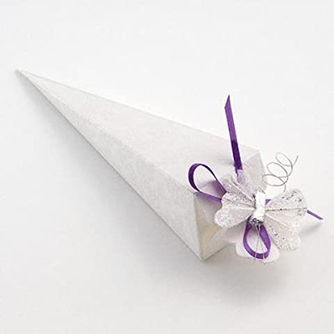 Cono de favores de la boda - Sorgente Bianco (PK 10 en embalaje plano, sin decoraciones)