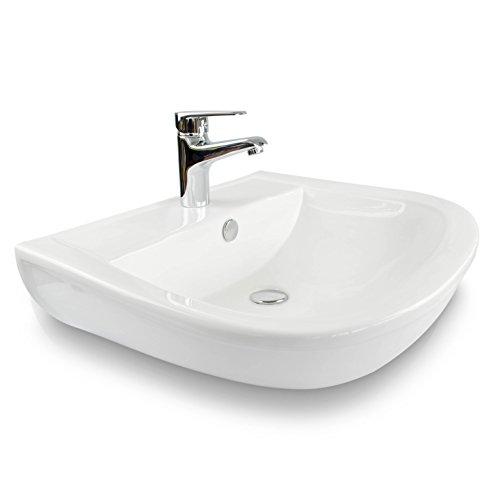 VENKON - Design Waschbecken mit NANO Beschichtung Universale Keramik Waschschale für Wand- oder Tischmontage - reinweiß, ca. 605 x 170 x 480 mm