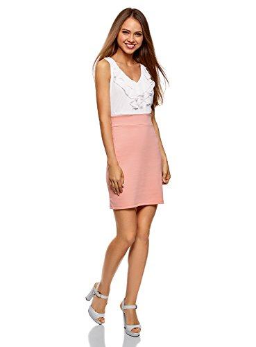 oodji Ultra Damen Kombiniertes Jersey-Kleid Rosa (4010B)