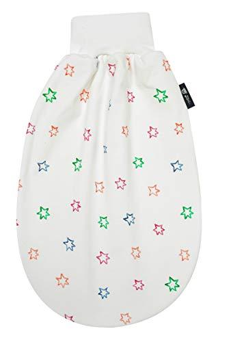 Alvi Alvi Baby Schlupfmäxchen light Exclusiv | Schlafsack 0-6 Monate | Baby-Schlafsack 100% Baumwolle | Sommerschlafsack waschbar, Design:Bunter Stern 583-0
