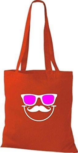 Borsa di stoffa Occhiali da sole mousetache Bart divertente smiley CULTO Borsa di cotone molti colori Rosso
