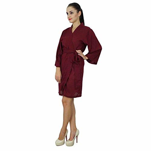 Bimba Femmes court solide Ceinture Robe souple coton modal Wrap ronde ordinaire Peignoir Marron
