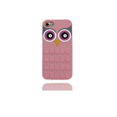 iPhone 7 Copertura,iPhone 7 Custodia,iPhone 7 case,Custodia iPhone 7 per le ragazze, Silicone molle morbido del gufo del fumetto 3D[Prova di scossa]Cover for iPhone 7 4.7 inch-pink pink