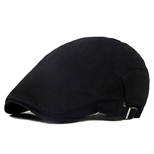 Bluelans® Trendige Vintage Gatsby Flatcap Schiebermütze Cabbie Ivy Flat Cap Golfermütze (Schwarz)