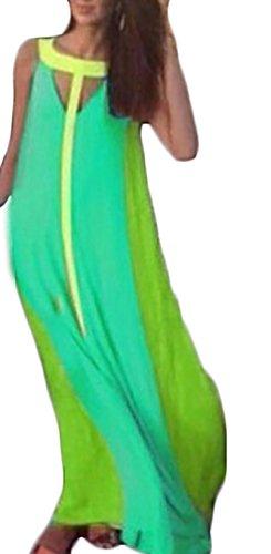 Vestiti Donna Estivi Eleganti Lunghi Vintage Mare Senza Maniche Senza Spalline Spiaggia V Scollo Colori Misti Casual Vestito A Ruota Abito Lungo Verde