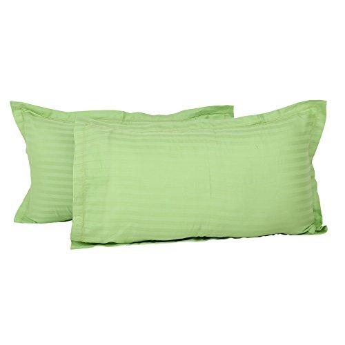Clasiko 100% Cotton Light Green Pillow Covers; Design - Satin Stripes; Size...