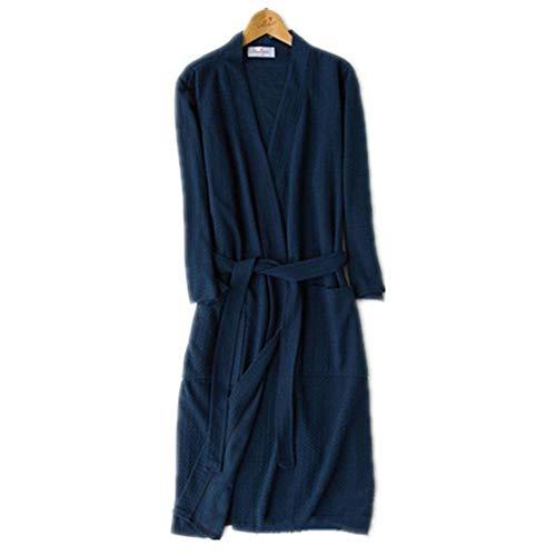 Cotton Knit Pyjama (ZHFDXD Herren Damen Bademantel Cotton Knit MorgenmäntelNachthemd Loungewear Schlafmantel Pyjamas Robe @ Navy_M)