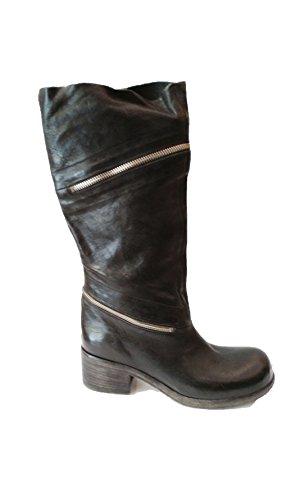 Stivale alto Nero Vic Matiè con inserto zip pelle invecchiata tacco 4cm N°36