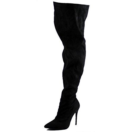 Viva Womens Stiletto Pointed Toe Fashion Stretch High Heel Thigh High Boots - Black - UK5/EU38 - KL0213