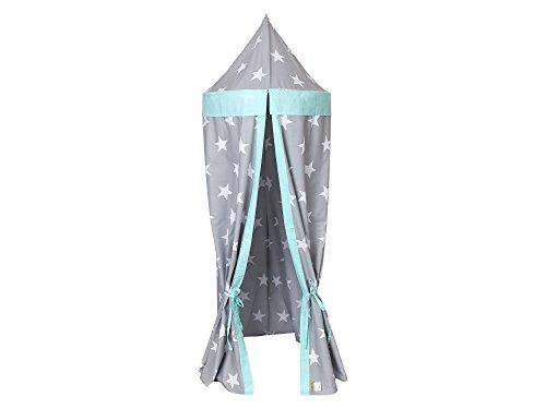 KraftKids Hänge-Zelt in große weiße Sterne auf Grau weiße Punkte auf Mint, Baldachin aus Baumwolle für das Kinderzimmer, 65 x 210 cm, inkl. Schlafmatte