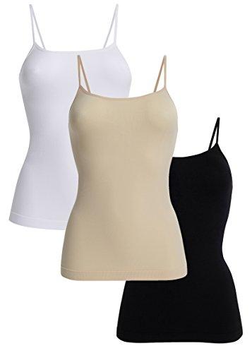 UnsichtBra 3er Pack Damen Unterhemden Spaghettiträger | Basic Wohlfühl Mikrofaser Tank Tops ohne Bügel (Schwarz,Weiss,Beige, L-XL)