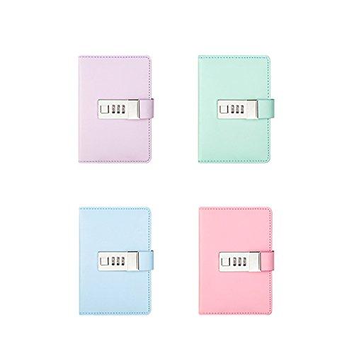Für Mädchen Tagebuch Passwort (Zhi Jin 1A6Macaron Farbe Leder Passwort Notebook Zeitschriften Sperren Note Bücher Secret Diary Notebooks mit Kodiert, gebundenen Mädchen Geschenk grün)