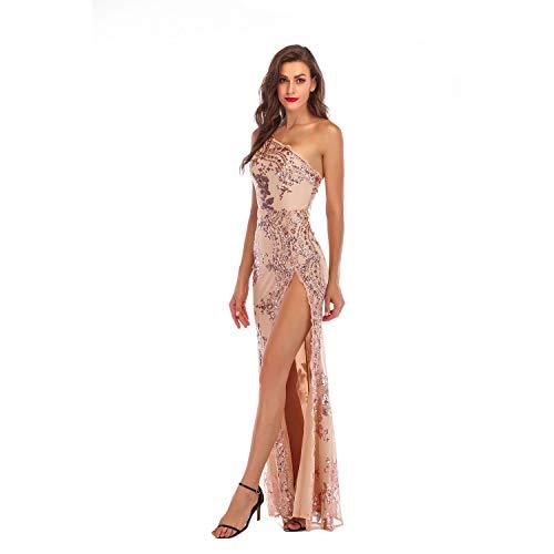 Jackcer Frauen Pailletten Glitter Kleid Sexy One Shoulder Abendkleid Bodycon Stretchy Maxi Party Club Wear,Beige,S One-shoulder-kleid