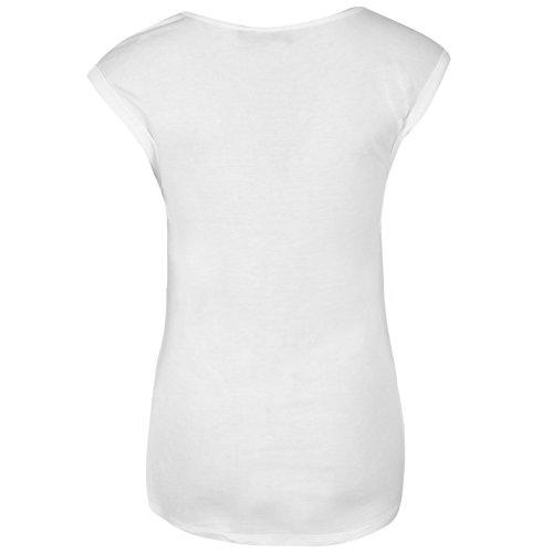 Firetrap Femmes Oxford T-Shirt Col Rond Tee Top Haut Manche Courte Décontracté Blanc