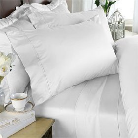 1000-Thread-Count Egyptian Cotton 4Pc Bed Sheet Set, King, White Solid